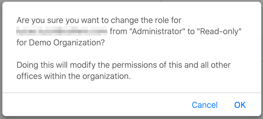 Basking.io Message displayed when changing user roles